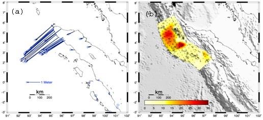 Gambar 2. Pergeseran horizontal koseismik dari gempa Aceh serta distribusi slip hasil inversi. (Irwan dkk, 2006)