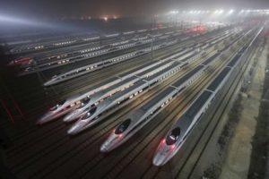Kereta api cepat di basis maintenance di Wuhan, provinsi Hubei. (Reuters)